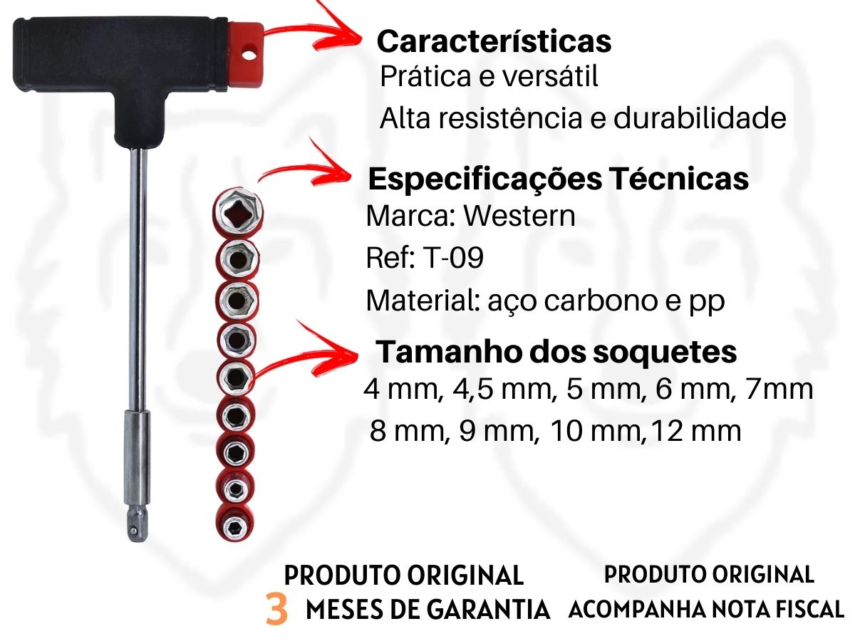 Chave Tipo T Western T-09 9 Soquetes Aço Carbono