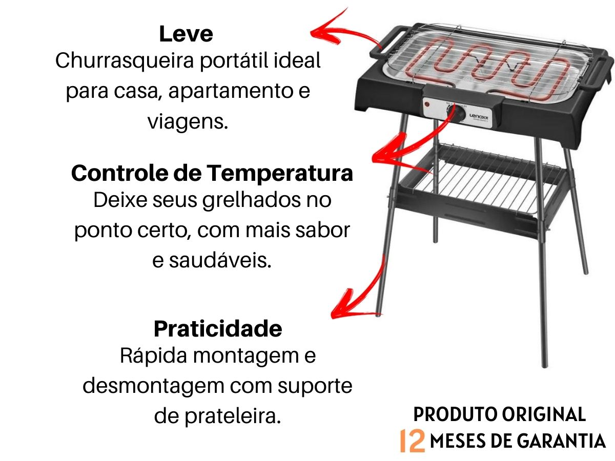 Churrasqueira Elétrica Lenoxx Pch-147 Grand Pratic II Portátil