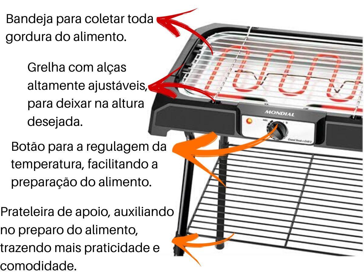 Churrasqueira Elétrica Mondial Ch-06 2000w