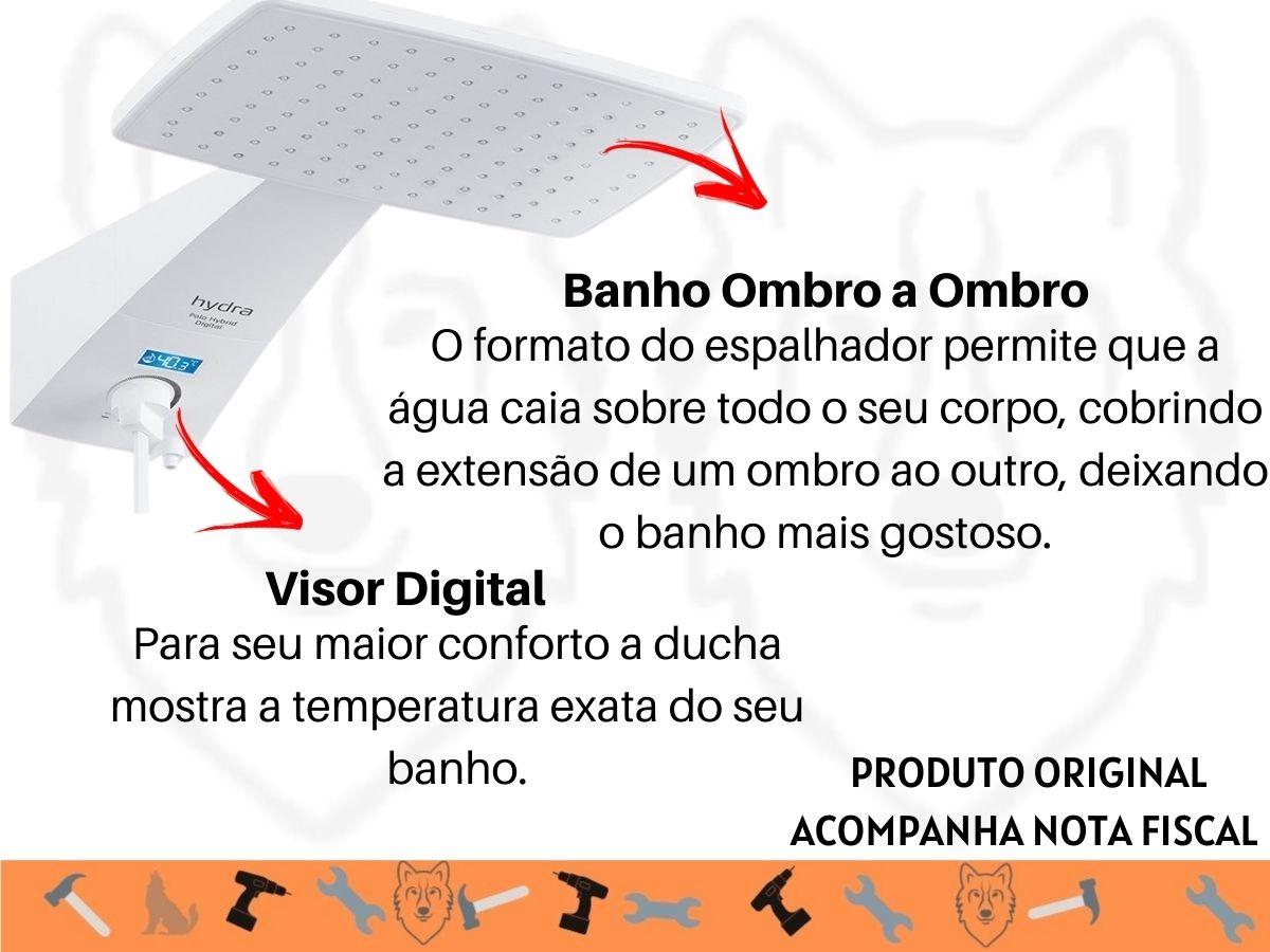 Chuveiro Ducha Digital Hydra Polo Plus 7700w Visor Digital B&P