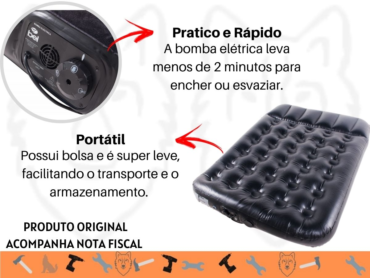 Colchão Inflável Elétrico Bel 8888 Casal Portátil