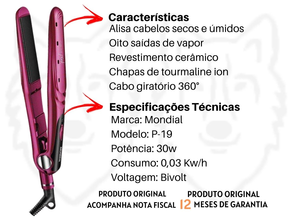 Conjunto Especial Mondial KT-88 Secador De Cabelos + Prancha Alisadora Chrome Pink Line