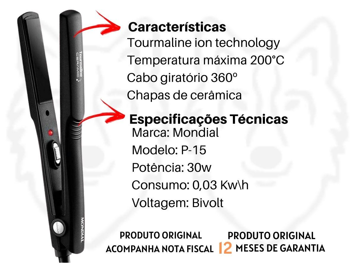 Conjunto Especial Mondial KT-91 Secador De Cabelos + Prancha Alisadora Black Íon