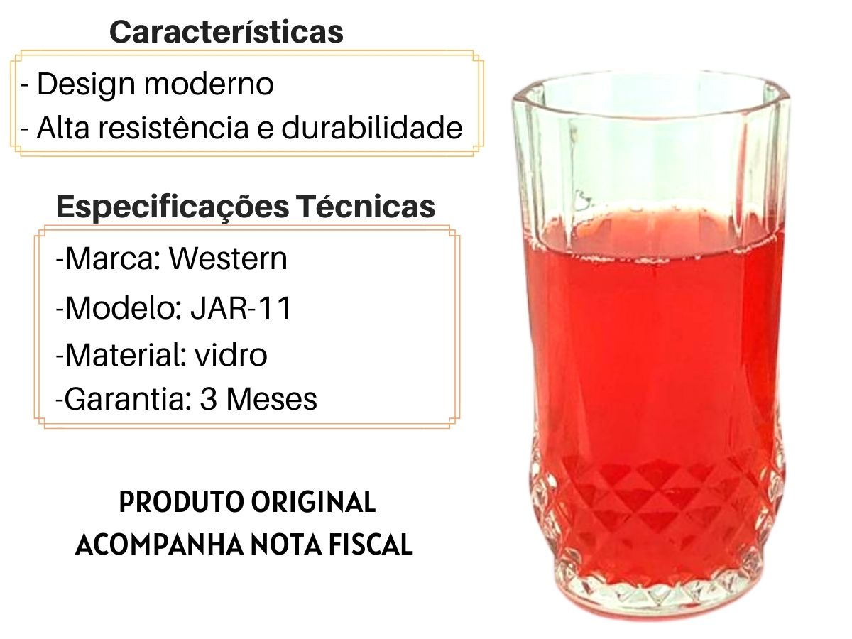 Conjunto Jarra e Copos Western Una JAR-11 Vidro 7 Peças