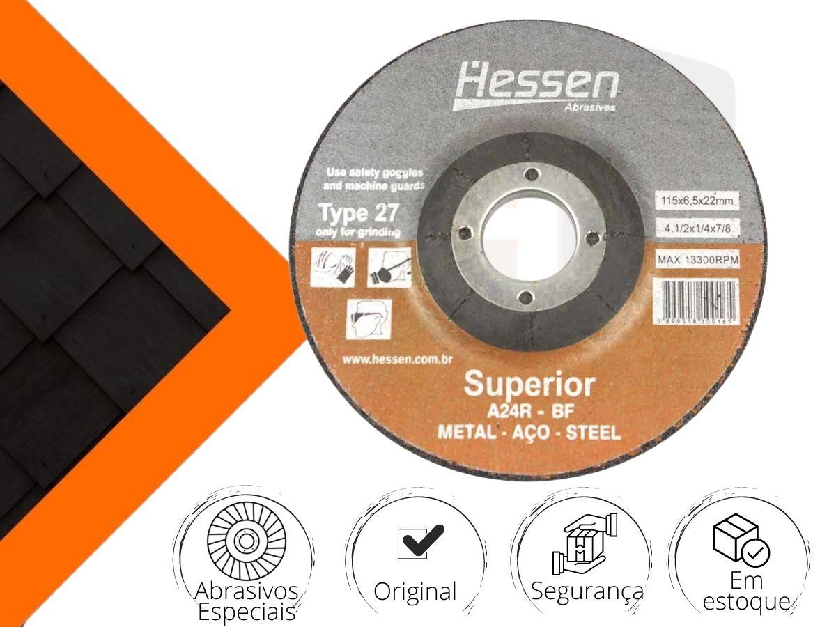"Disco Abrasivo Hessen A24R-BF Metal-Aço 4.1/2"" 4x7/8"