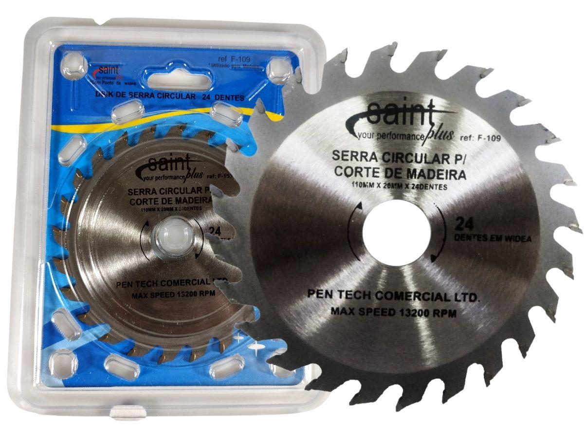 Disco De Corte Para Madeira 24 Dentes Saint F-109 110X20mm