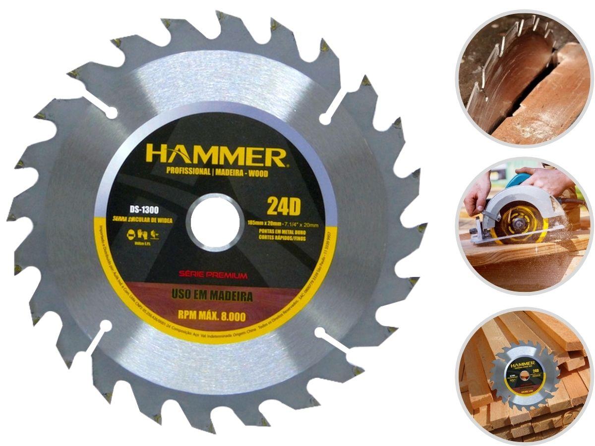 Disco Para Serra Circular 7 1/4 Pol. 24 Dentes Corte Madeira Hammer DS-1300