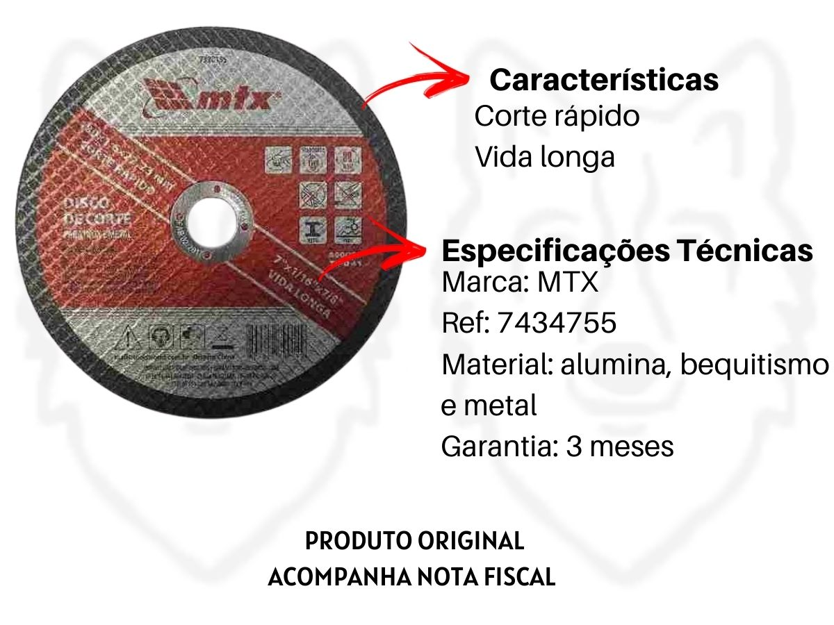 Disco De Corte 7 Pol.180mm De Metal MTX 7434755