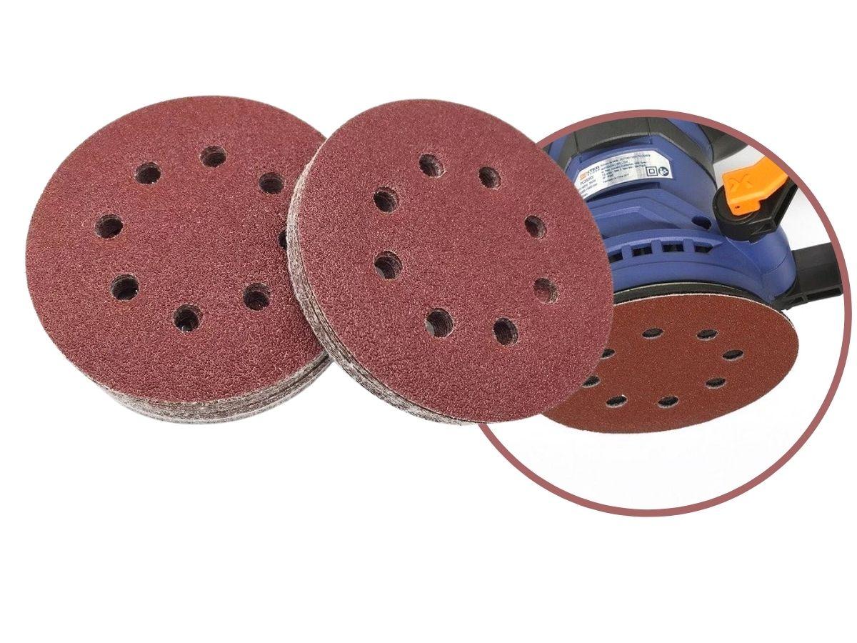 Disco De Lixa Com Velcro Perfurado 125mm Grão 60 Mtx 738039 5 Peças