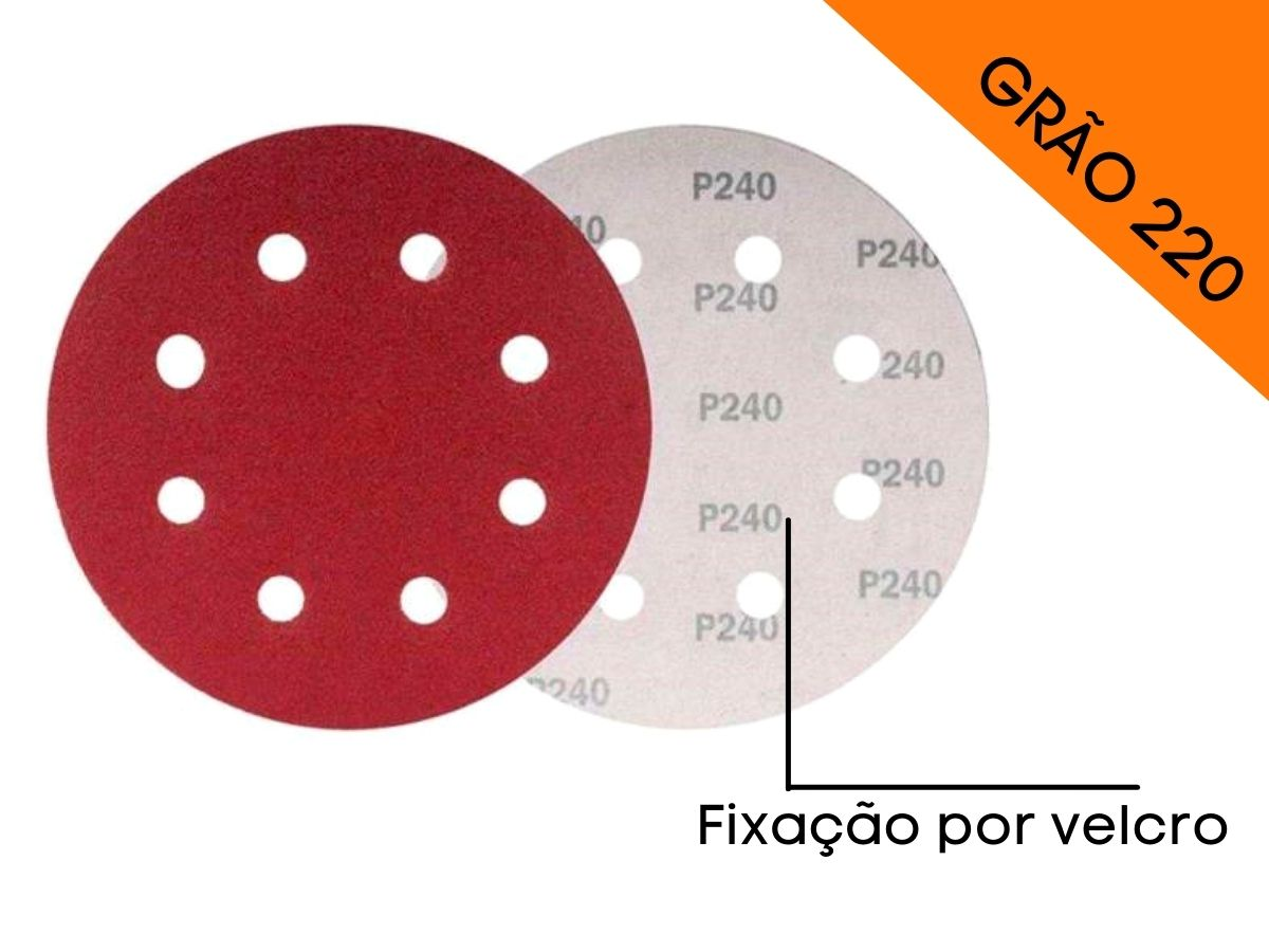 Disco De Lixa Com Velcro Perfurado 125mm Grão 220 Mtx 738099 5 Peças