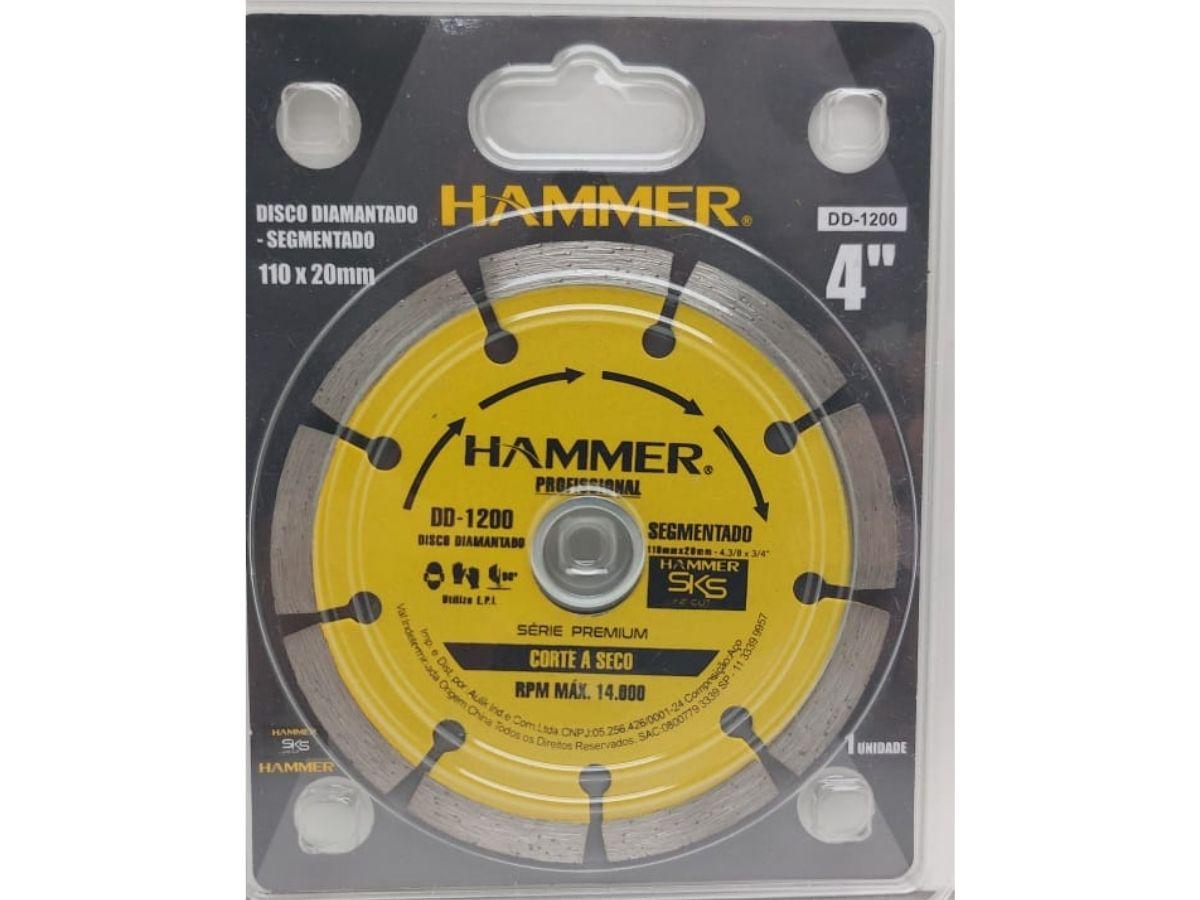"Disco Diamantado Segmentado Hammer DD-1200 110X20mm 4"""