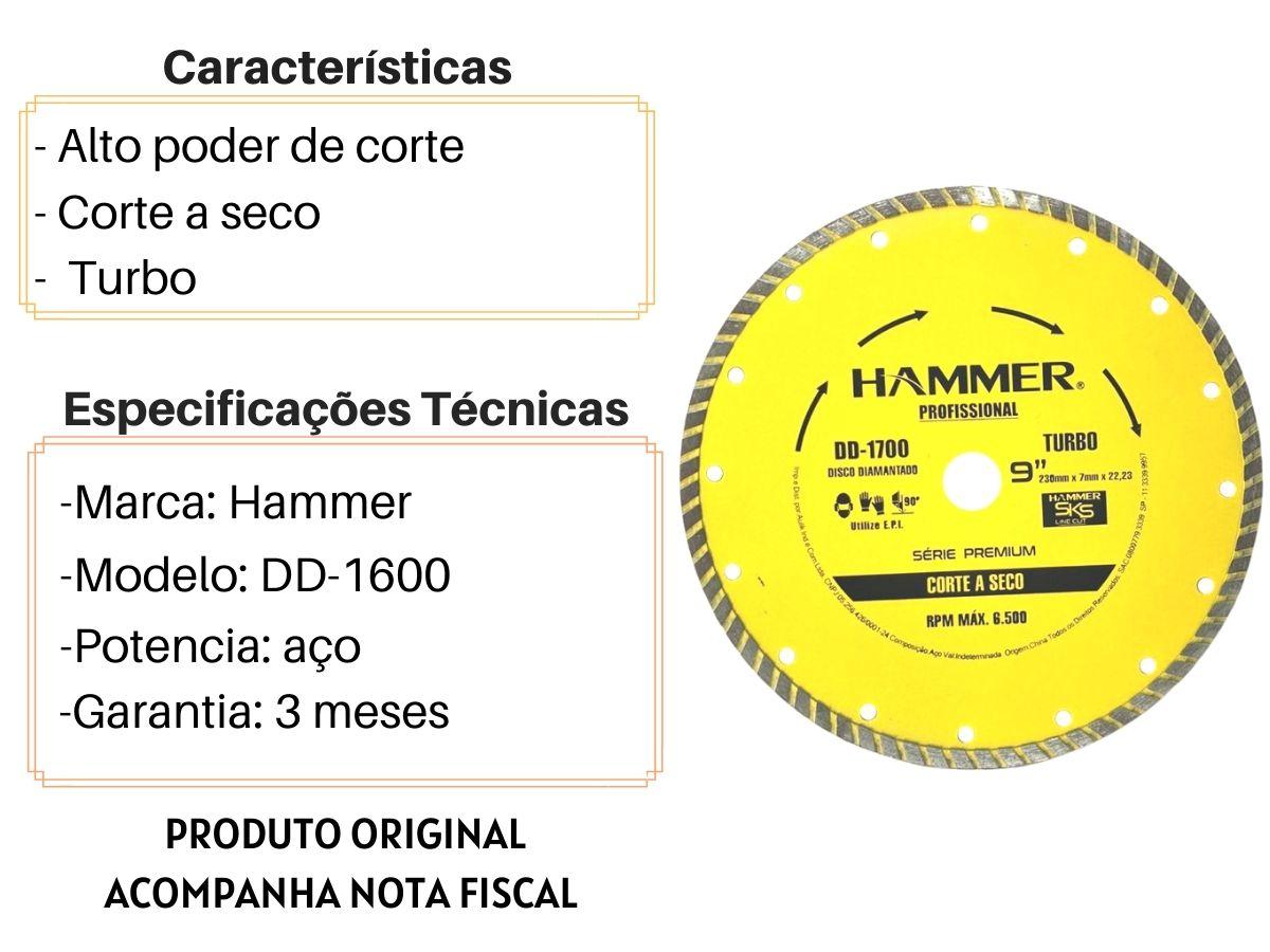 "Disco Para Esmerilhadeira Diamantado Turbo Hammer DD-1700 Corte a Seco 9"""