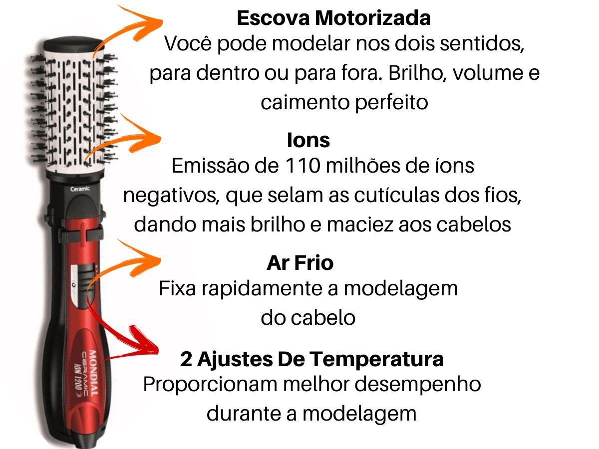 Escova Rotativa 5 Em 1 Mondial Ceramic Íon Er-05 1200w