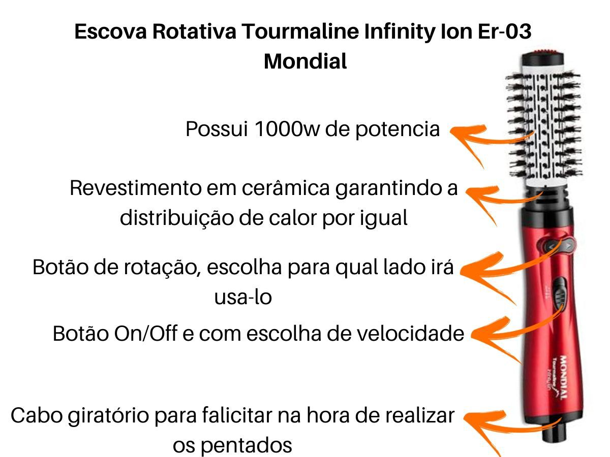 Escova Rotativa Mondial Er-03 Tourmaline Infinity Ion