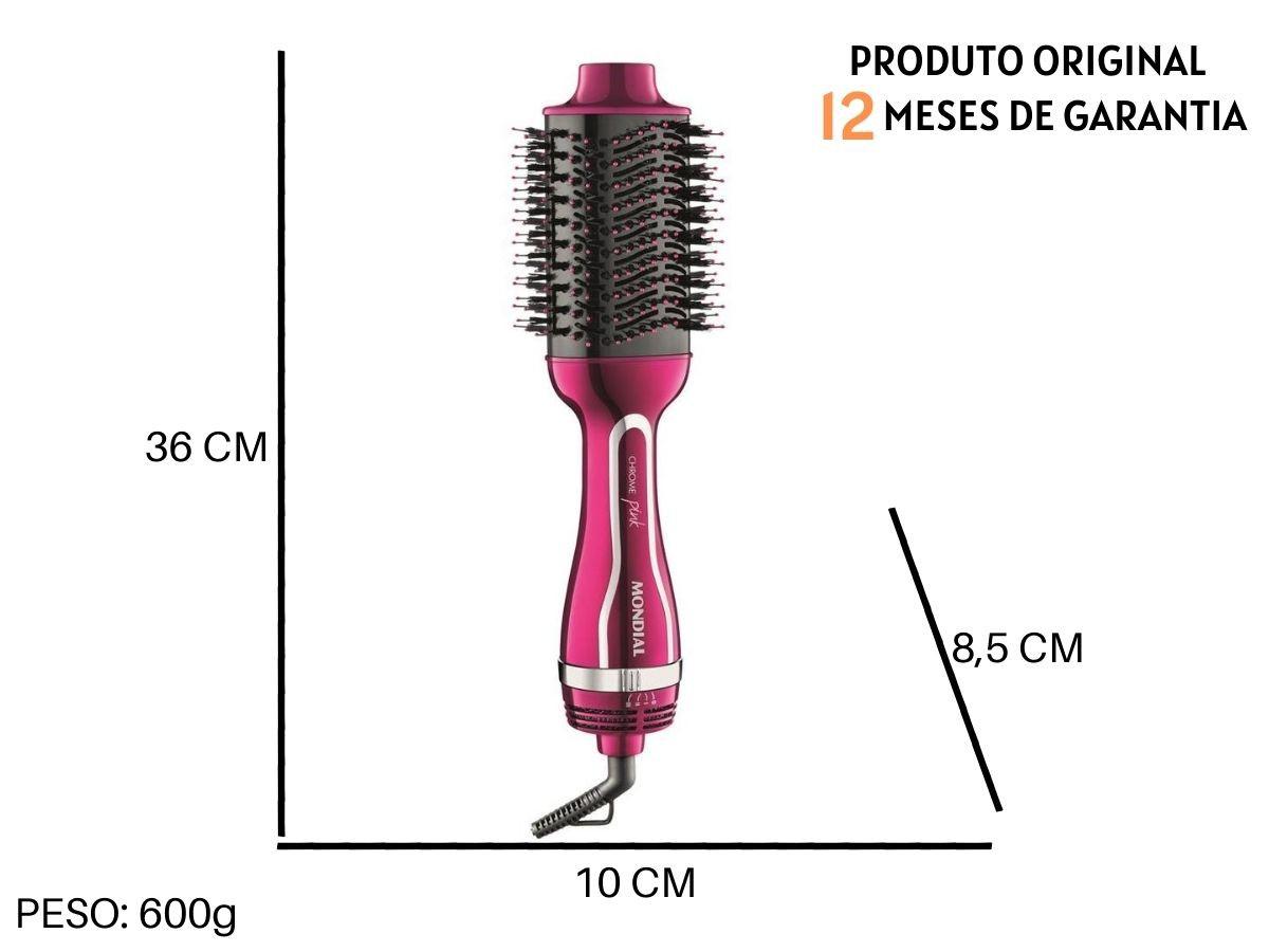 Escova Secadora Modeladora Mondial Es-04 Chrome Pink Line
