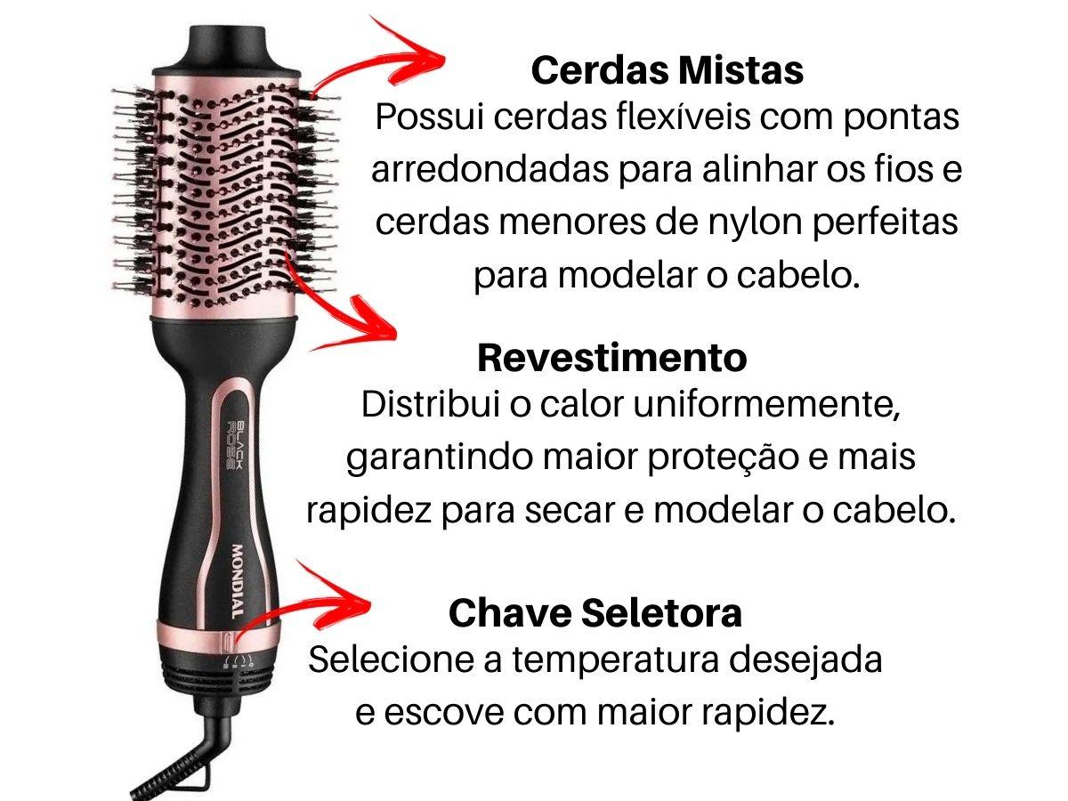 Escova Secadora Modeladora Mondial Es-05 Black Rose Line