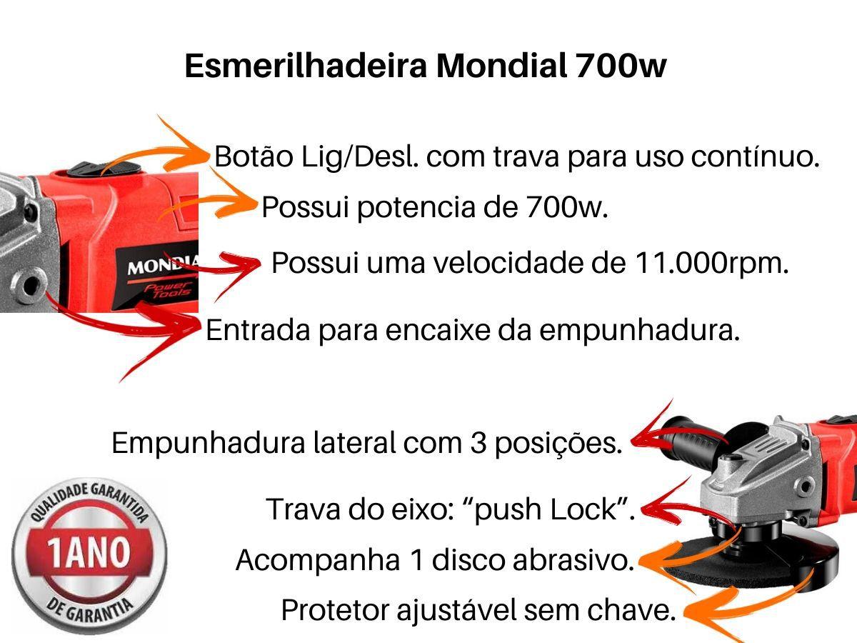 Esmerilhadeira Angular 700w Mondial Fes-02 115mm Vermelha