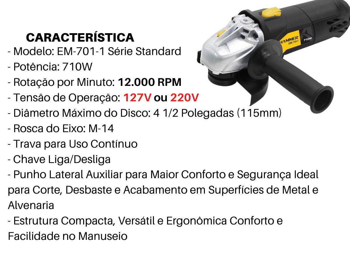 Kit Esmerilhadeira Angular 710w Hammer Gyem-701 C/ 5 Discos De Corte Di-1000 + Luva LM-01PC + Óculos WPS0206 voltagem:11