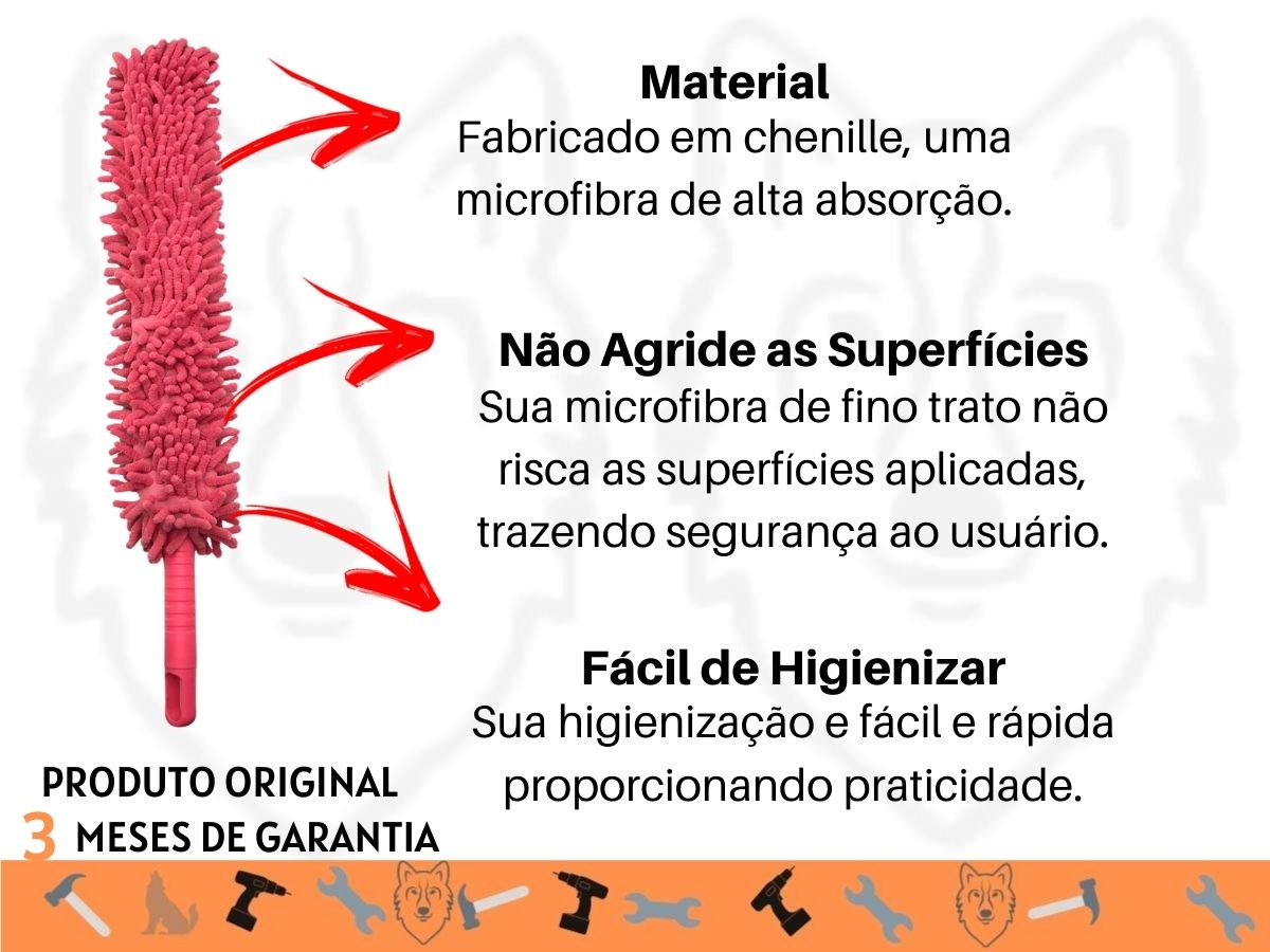 Espanador de Pó Flexível Bompack Microfibra Chenille