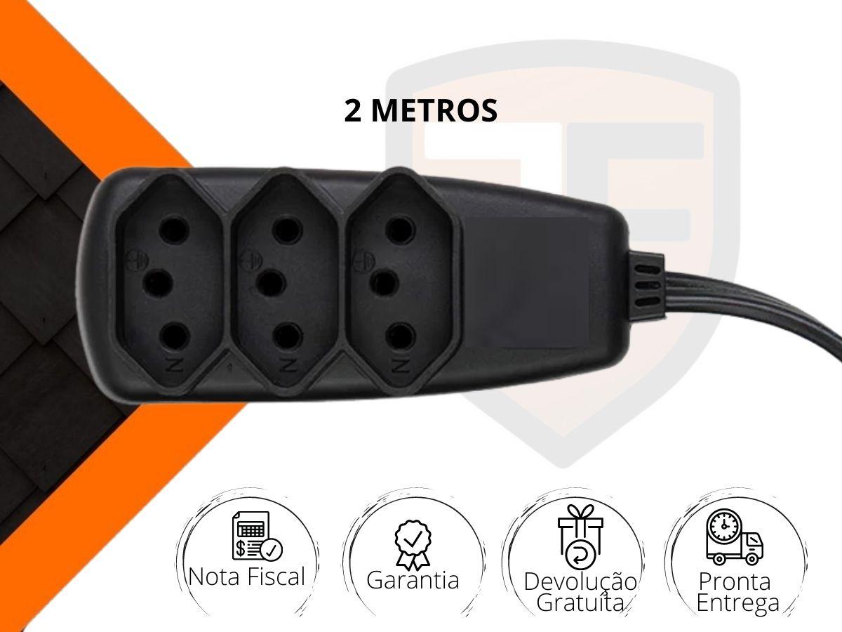 Extensão Elétrica 2 Metros Com 3 Tomadas Preta 10A