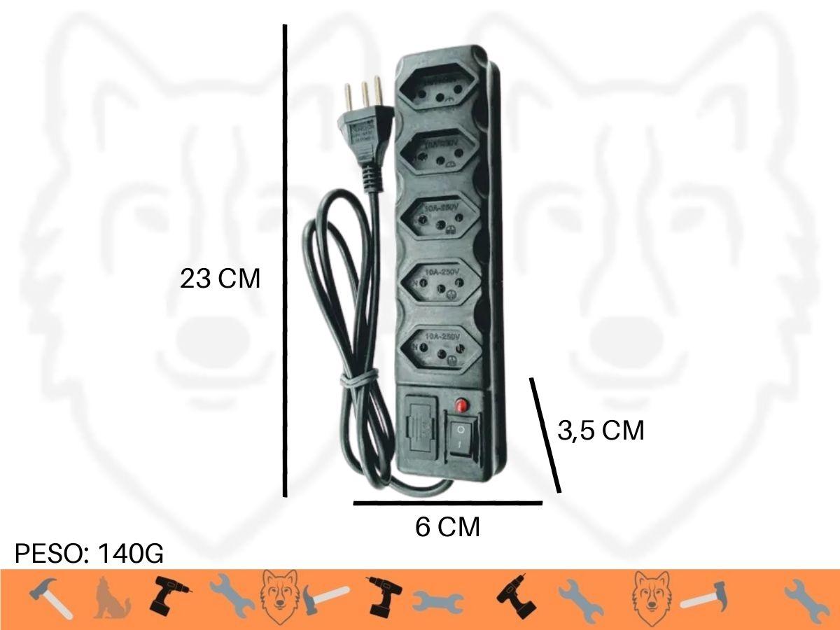 Extensão Filtro De Linha 5 Tomadas 3 Pinos 10a  Elite 85cm