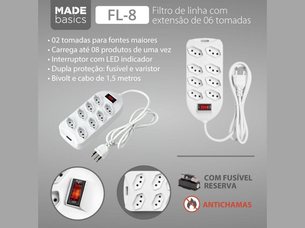 Extensão Filtro De Linha 1,5 Metros C/ 8 Tomadas Made Basics FL-8