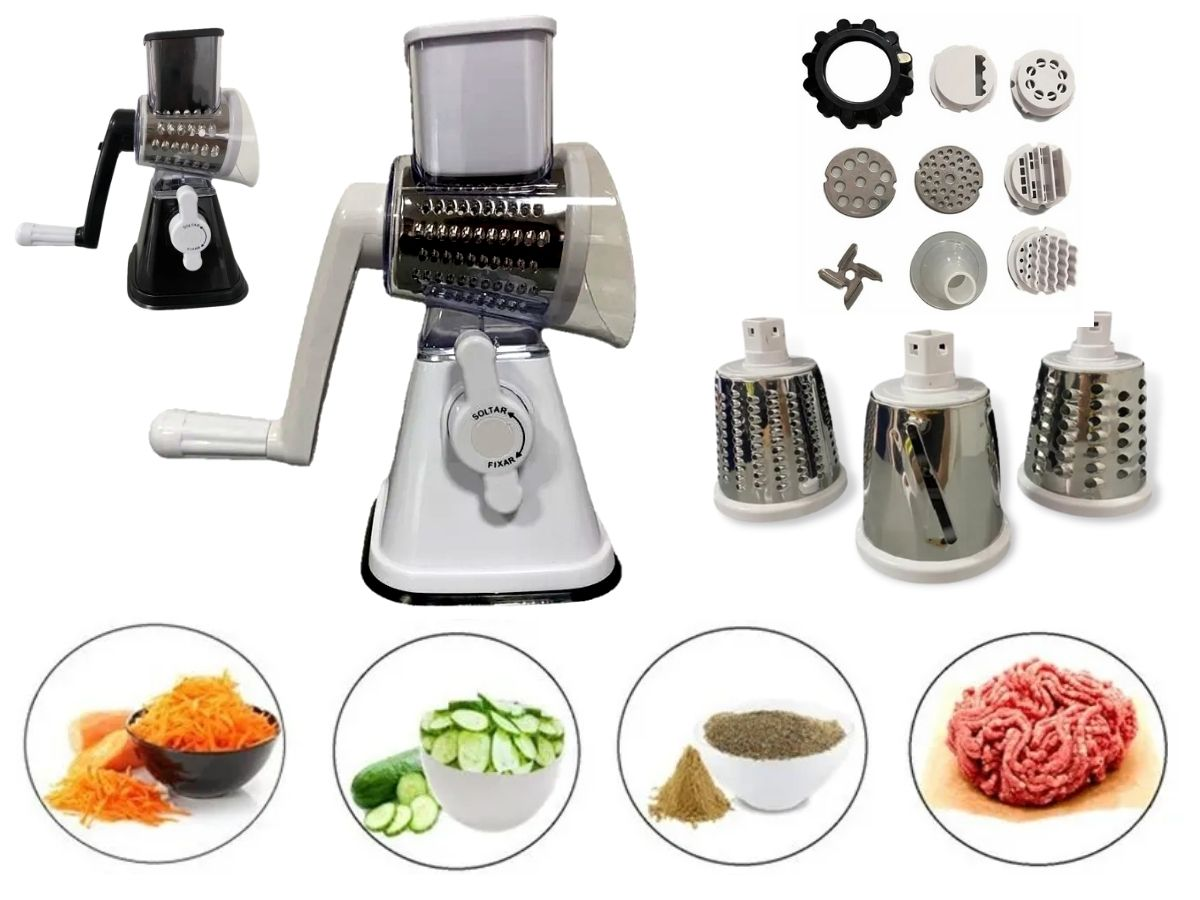 Fatiador Ralador Moedor Manual Kit Multi função Globalmix 10x1 Com Acessórios