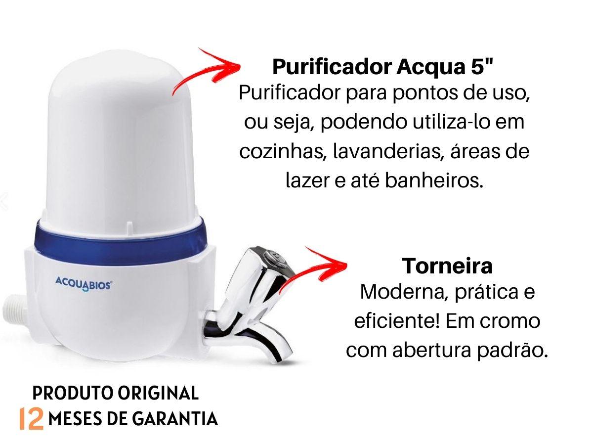 "Filtro Purificador De Água Acquabios Acqua 5"" Branco Cromado"