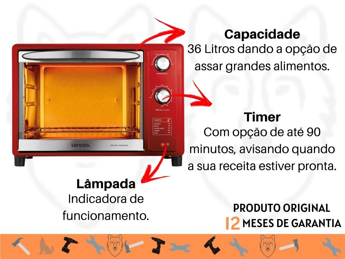 Forno Elétrico 36 Litros Lenoxx Pfo-309 Red Gourmet