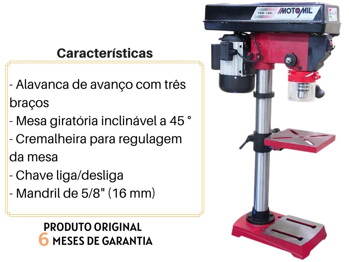 Furadeira De Bancada 375w 16mm Motomil FBM-160i