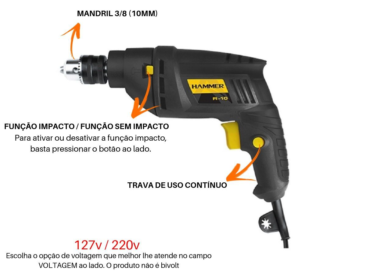 Furadeira De Impacto 420w 10mm Hammer Fi-10 2800rpm