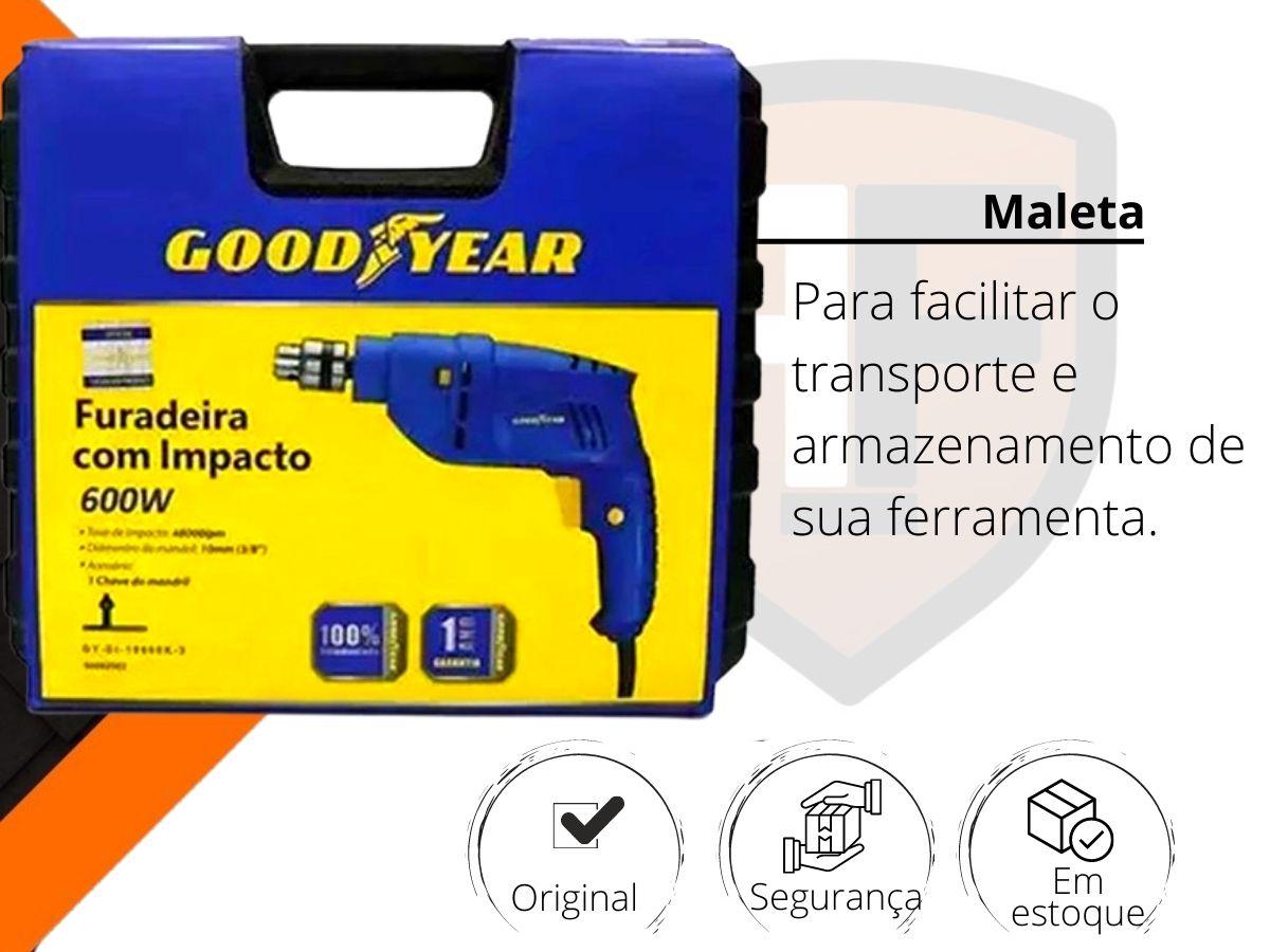 Furadeira De Impacto 600w 10mm Goodyear GY-DI-10600K-3 Com Maleta