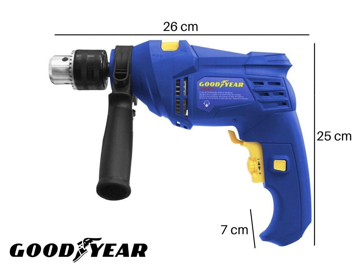 Furadeira De Impacto 550w 13mm Goodyear GY-DI-30055-3 Azul