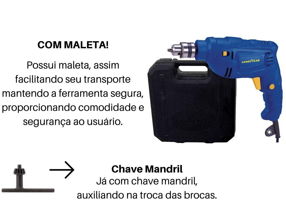 Furadeira De Impacto 500w 10mm Goodyear Gy-Di-10500K-3 Com Maleta
