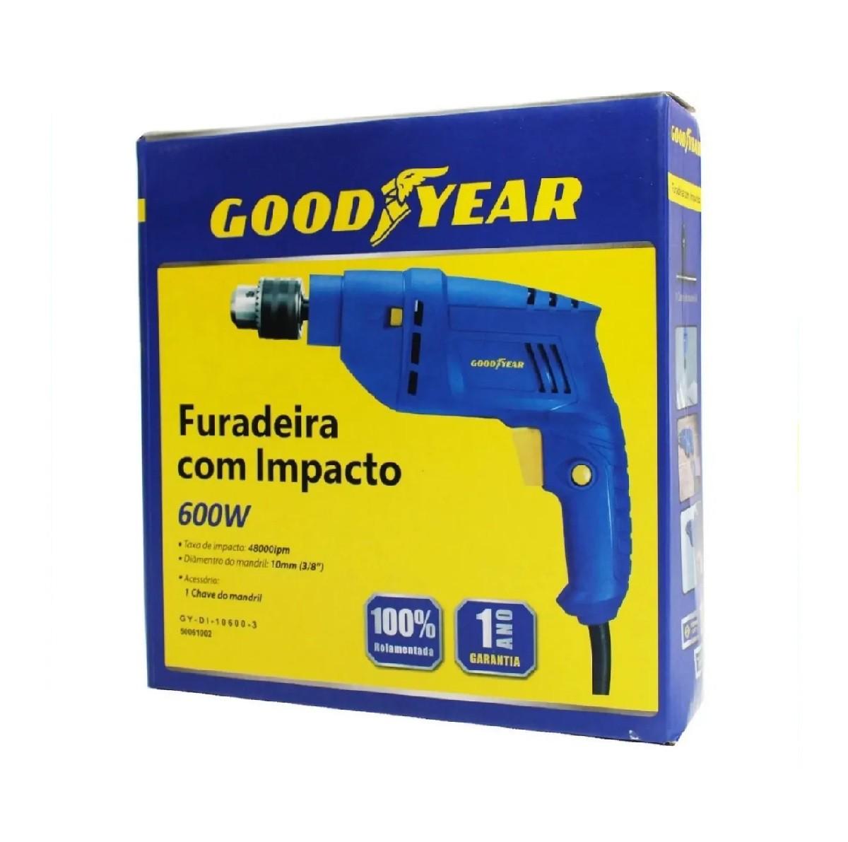 Furadeira De Impacto 600w 10mm Goodyear GY-DI-10600-3