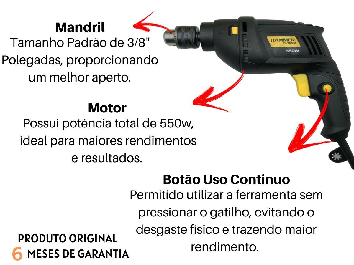 Furadeira De Impacto 550w Hammer Fi-1000 Com Jogo De Brocas Western 13 Peças