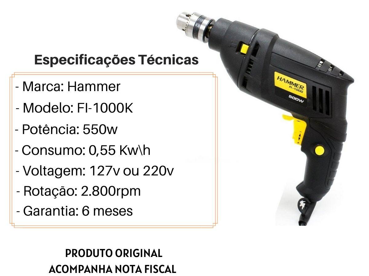 Furadeira De Impacto 550w 10mm Hammer FI-1000K Com Maleta e Acessórios