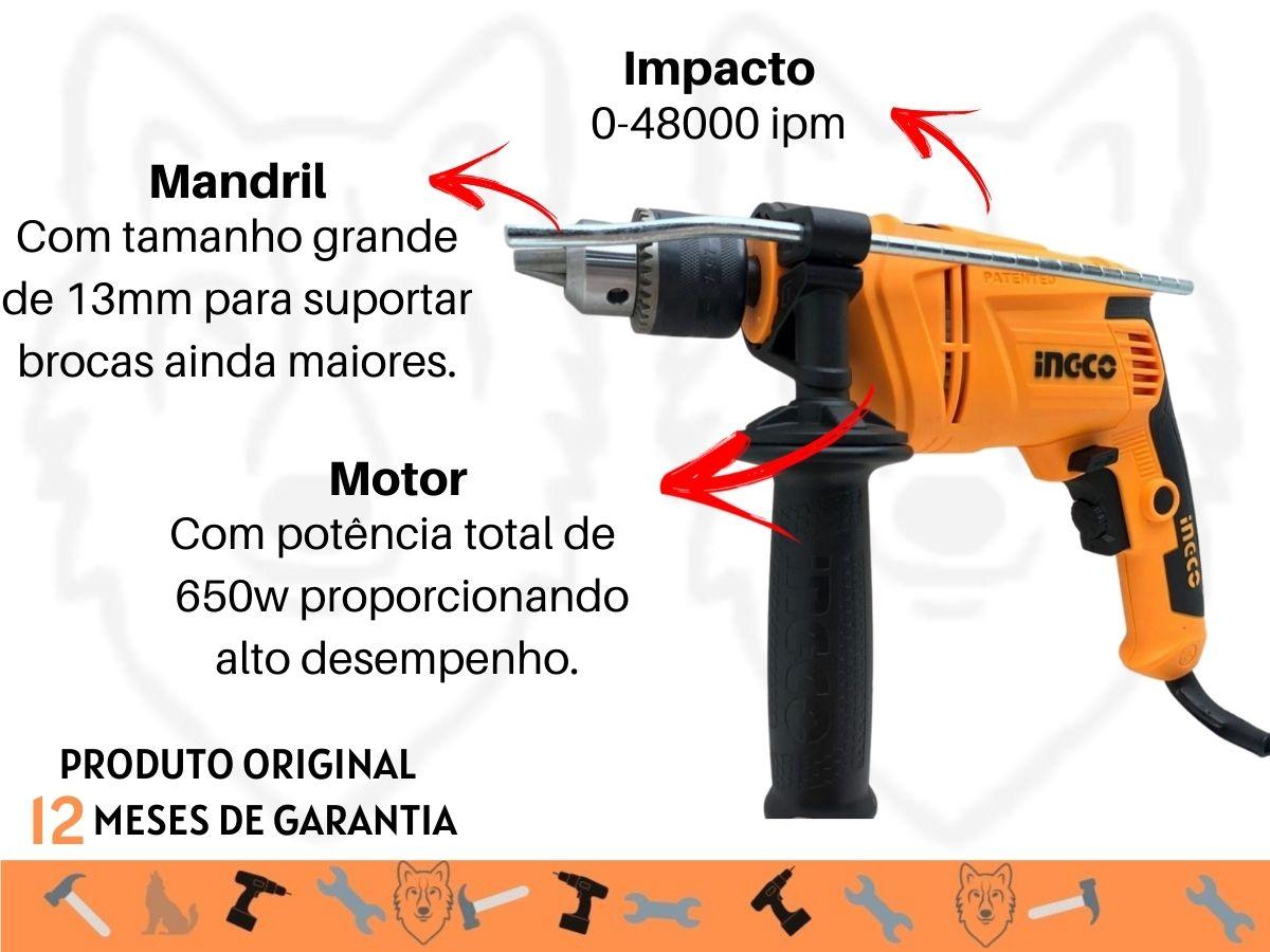 Furadeira De Impacto 650w 13mm Ingco Uso Profissional