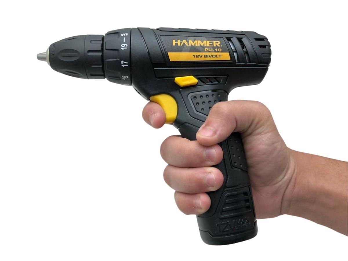 Parafusadeira Furadeira 12v Hammer Pli-10 10mm Bateira De Lítio
