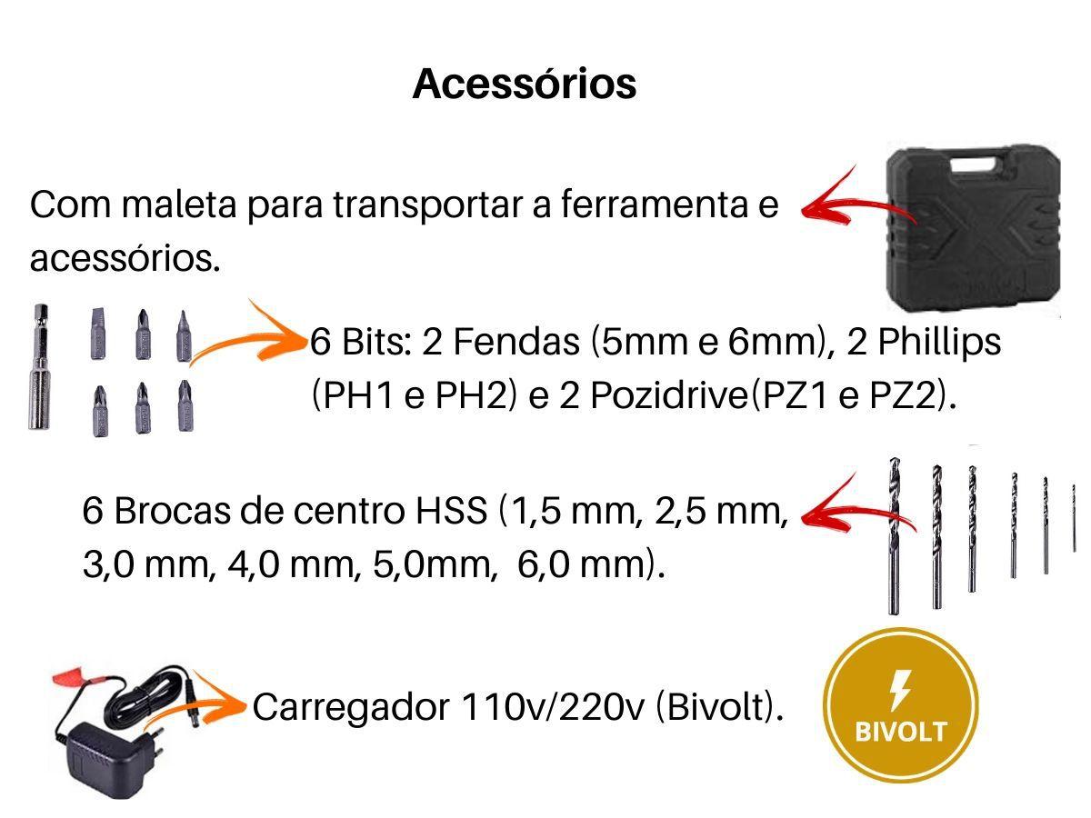 Furadeira Parafusadeira 12v Vonder PFV012I Biv. C/ Maleta e 13 Acessórios