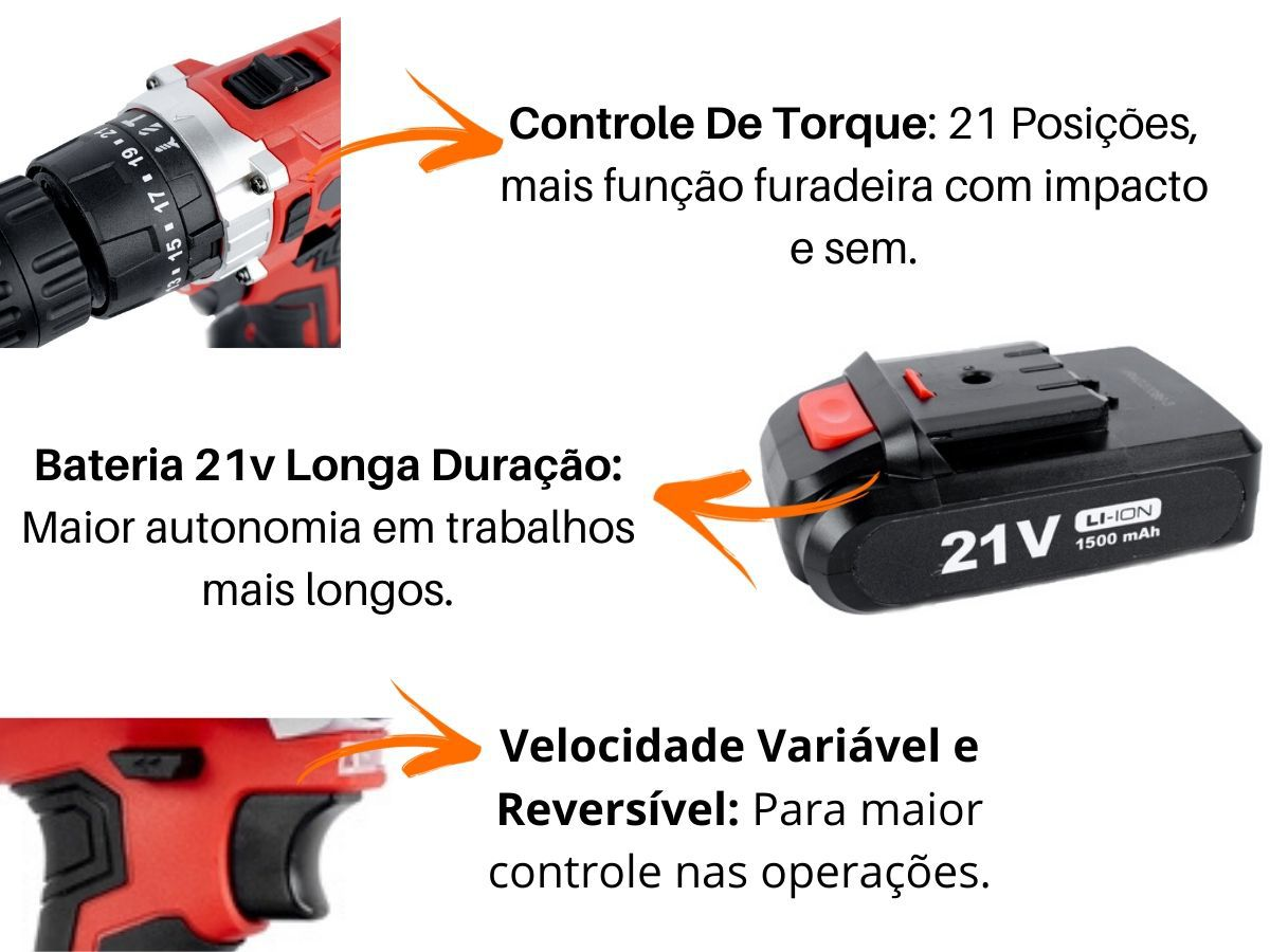 Parafusadeira Furadeira 21v Com Impacto Mondial Pf-09m e Duas Velocidades