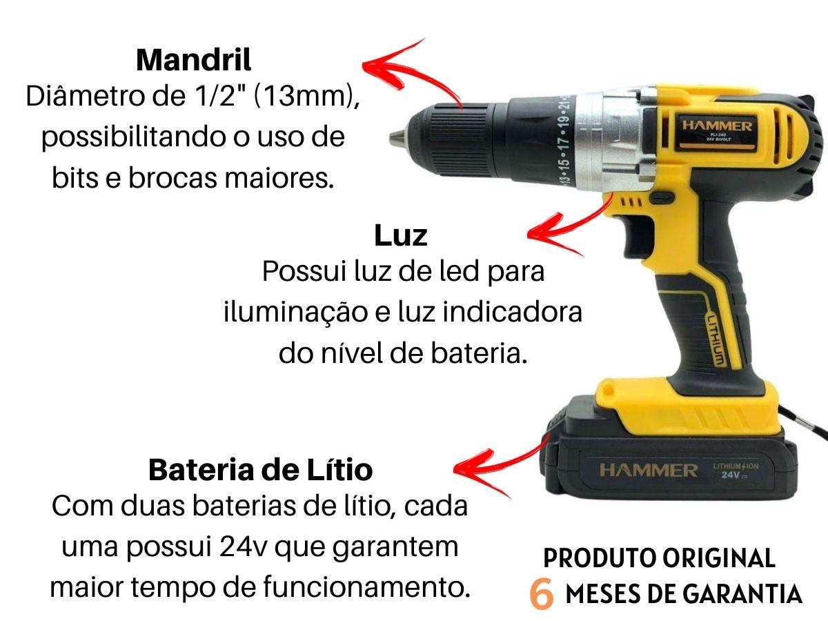 Parafusadeira Furadeira 24v Com Impacto Hammer Pli-240 13mm 2 Baterias e Maleta
