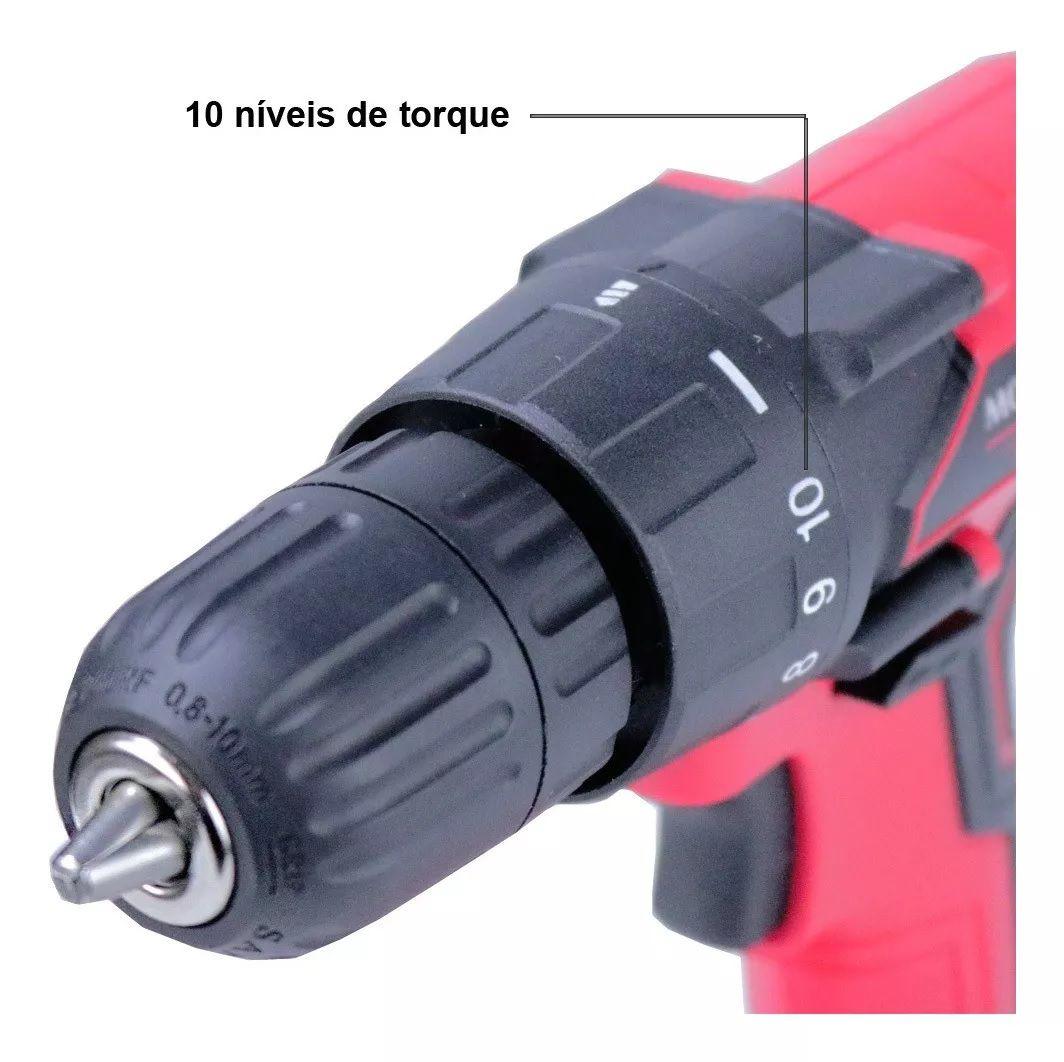 Parafusadeira Furadeira 8v Mondial Pf-08 10mm Com Bits Ponta Dupla