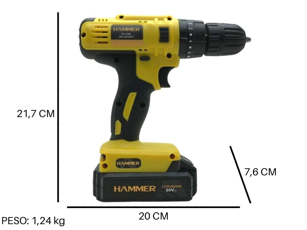 Parafusadeira Furadeira 20v Com Impacto Hammer Pli-200 10mm 2 Baterias e Maleta