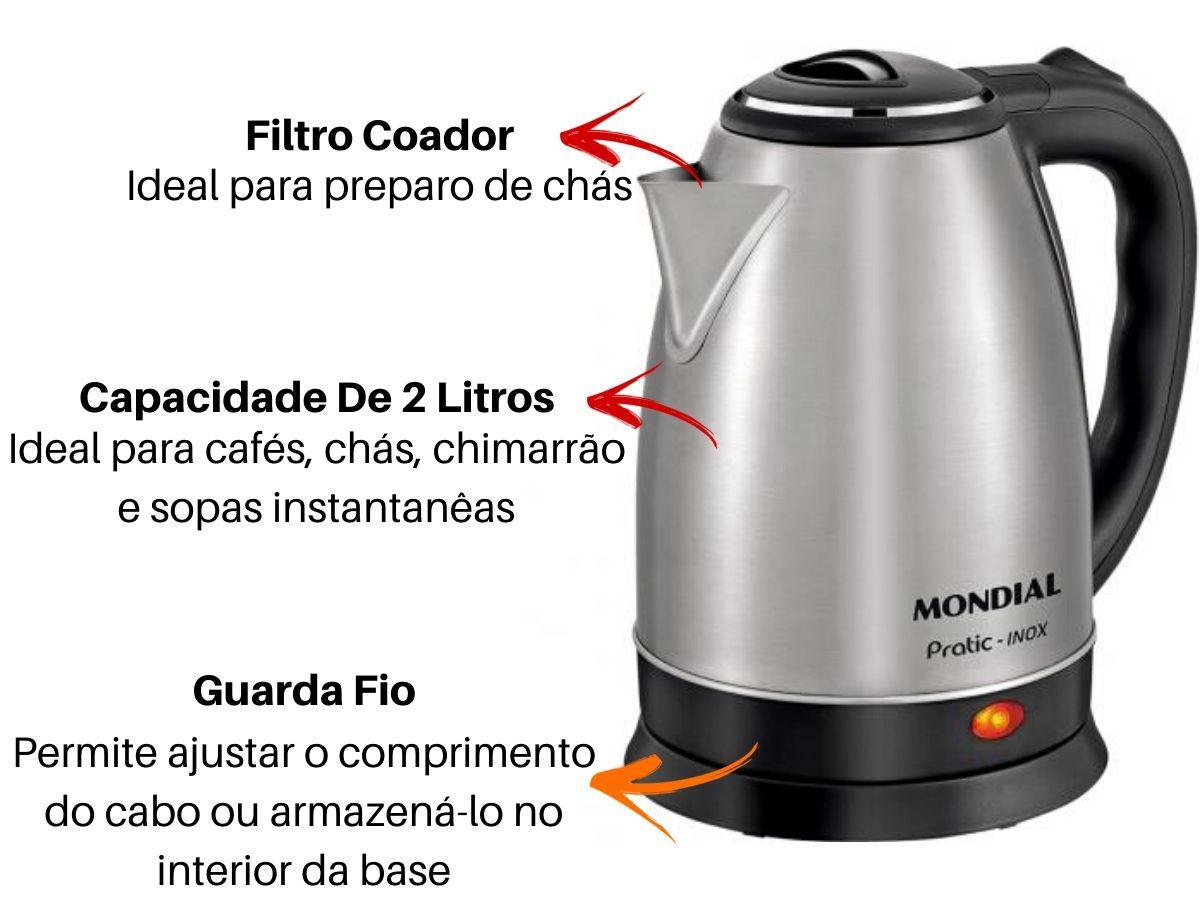 Chaleira Elétrica 2L Mondial Ce-06 Inox Automática