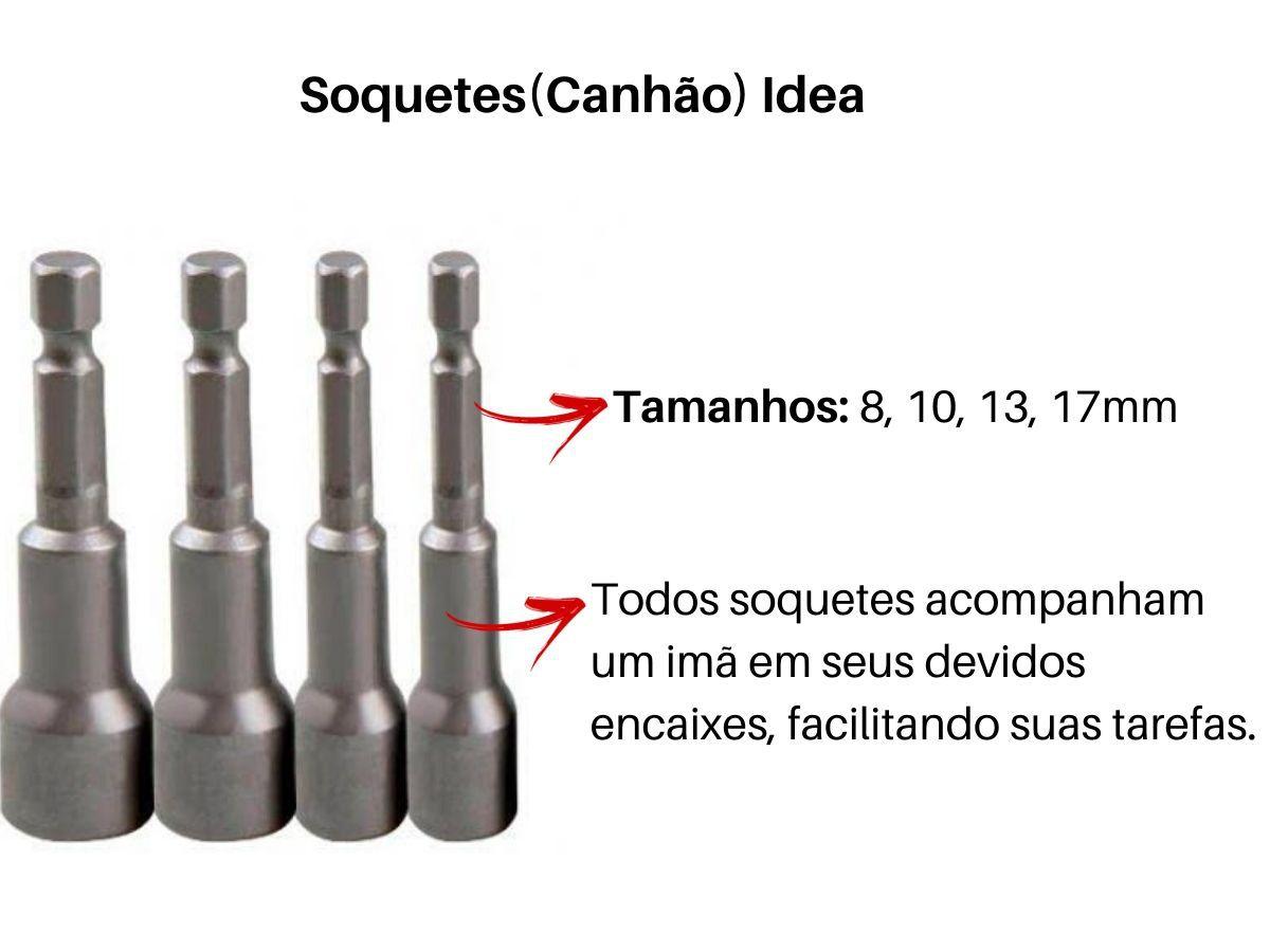 Jogo Chave Canhão Soquete Idea Para Parafusadeira 4 Peças Profissional