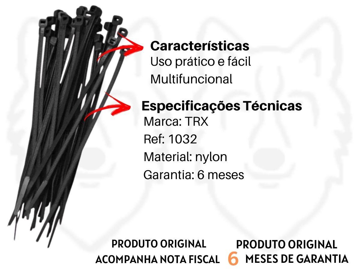 Jogo de Abraçadeiras Para Lacre TRX 1032 3,6X150mm 100 Peças