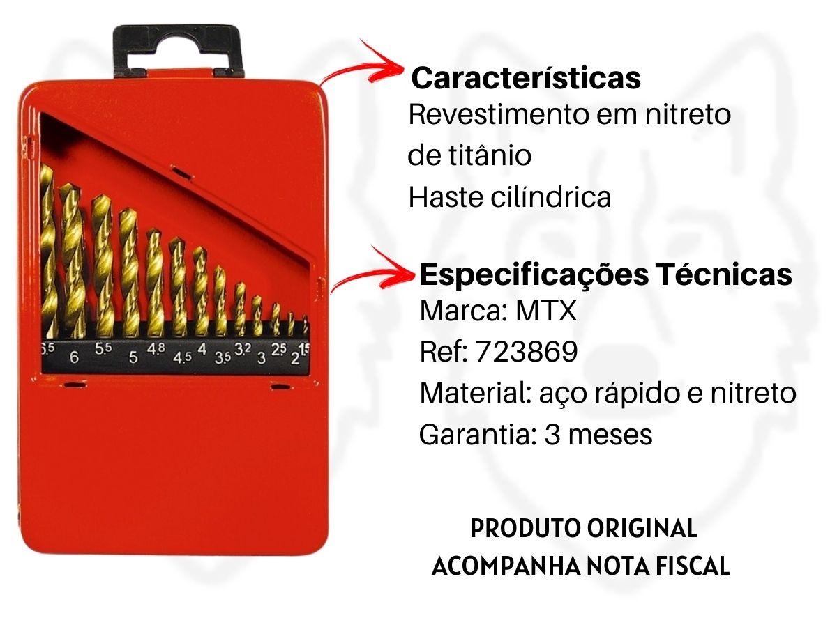 Jogo De Brocas Aço Rápido MTX 723869 Titânio 13 Peças