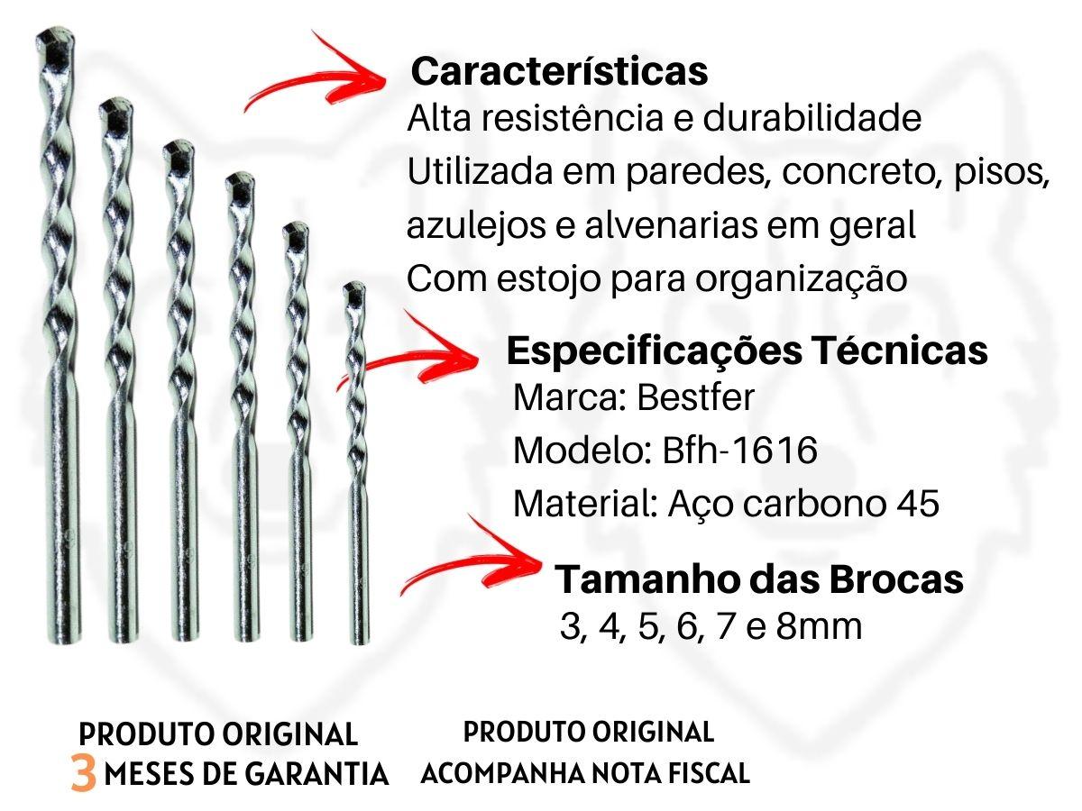 Jogo De Brocas Videa Bestfer Bfh-1616 Aço Carbono 6 Peças