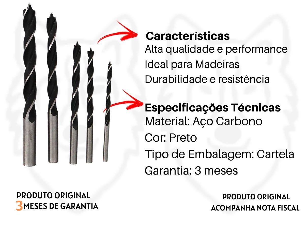 Jogo De Brocas Madeira Western 110/5 Aço Carbono 5 peças